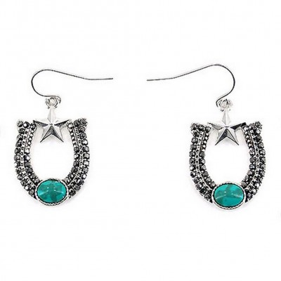 12-pair Western Style Rhinestone Horse Shoe Shape Earrings - TQ Blue Stone - ER-0192M-ASTQ