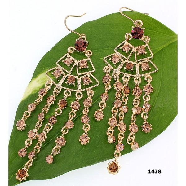 Swarovski Crystal Chandelier Earrings - Topaz - ER-1478GD-TP