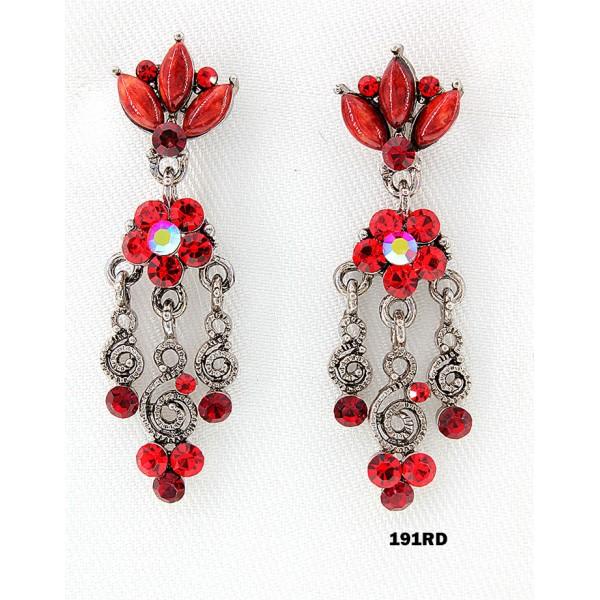 Crystal Earrings  - Red - ER-191RD