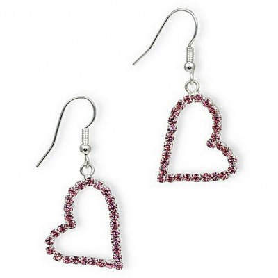 Dangling Rhinestones Heart Earrings - L. Rose - ER-20676LRO