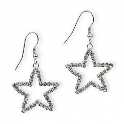 Dangling Rhinestones Star Earrings - Clear - ER-20677CR