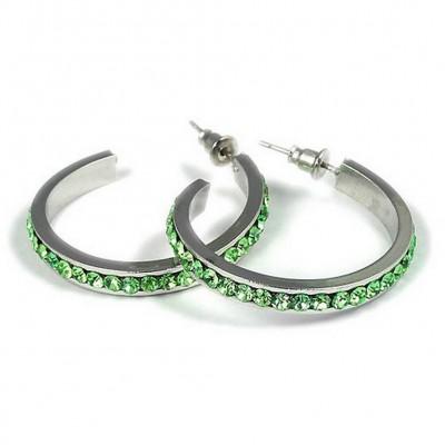 Rhinestone Post Hoops Earrings - Green - ER-21016PE