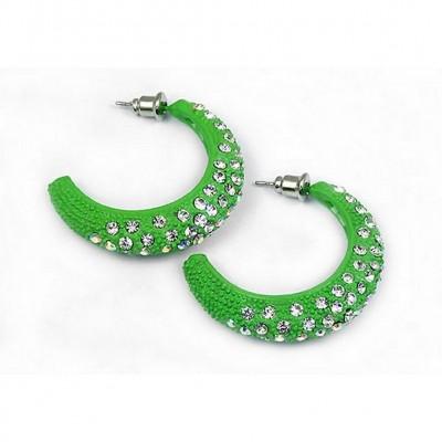 Rhinestone Post Hoops Earrings - Green - ER-21308PE