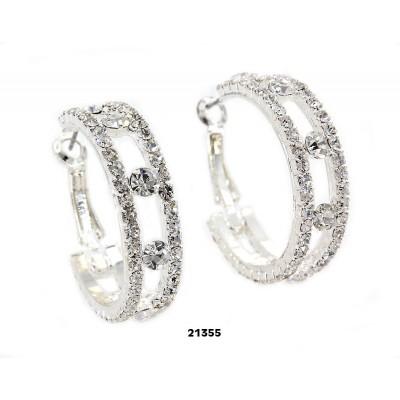 Rhinestone Post Hoops Earrings - Double Lines - ER-21355