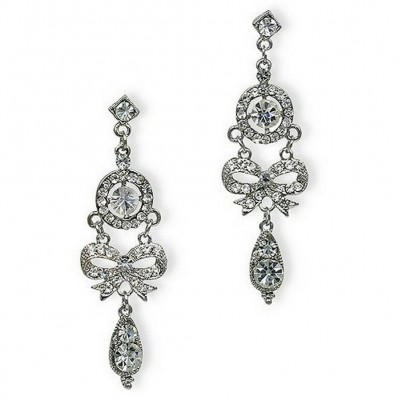 Dangling Rhinestones Ribbon Earrings - Clear - ER-21453
