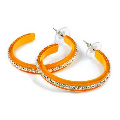 "RhinestoneHoops Earrings - Center Line - 1.6"" - ER-21552DJO"
