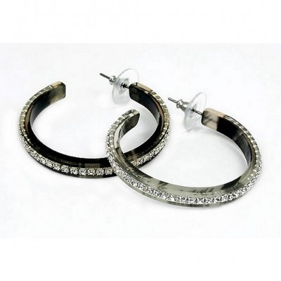"RhinestoneHoops Earrings - Center Line - 1.6"" - ER-21554JT"