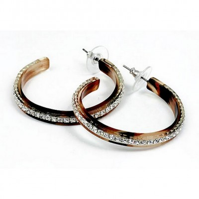 "Rhinestone Hoops Earrings - Center Line - 1.6"" - ER-21554STO"