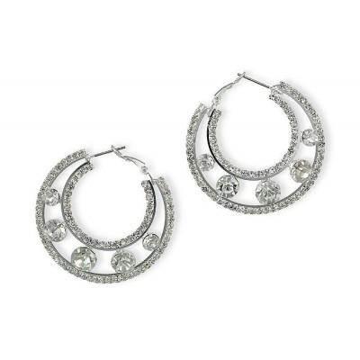 Rhinestone Post Hoops Earrings - Double Circles - ER-21557S-S