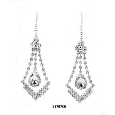 Rhinestone V w/ Dangling Tear Drop Earrings - Clear -  ER-21757CR