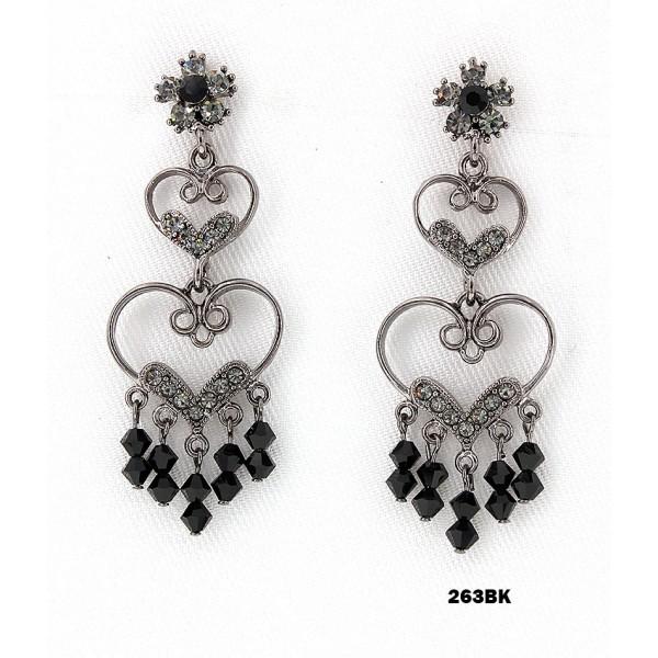 Crystal Earrings  - Black - ER-263BK