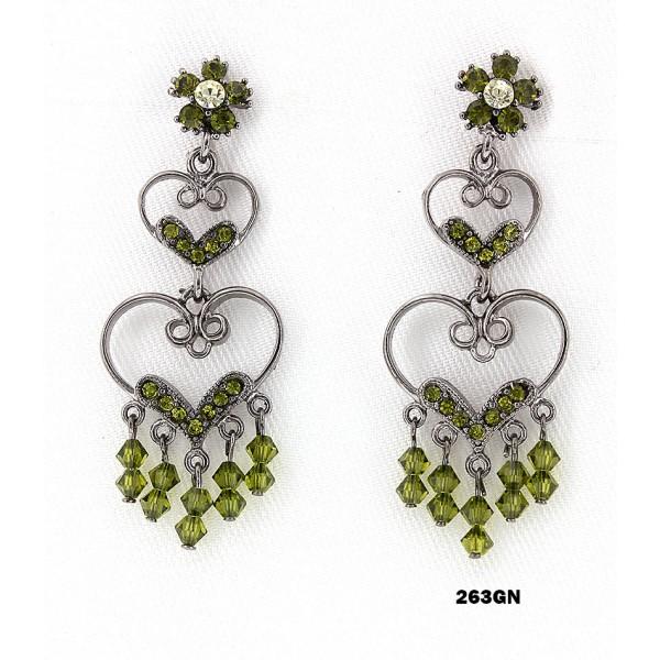 Crystal Earrings  - Green - ER-263GN