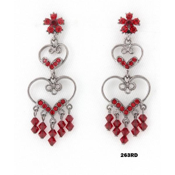 Crystal Earrings  - Red - ER-263RD