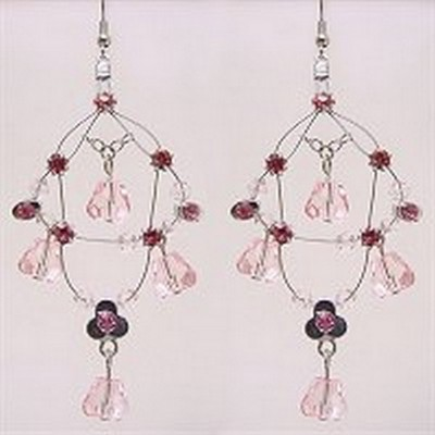 Crystal Earrings  - Pink - ER-576PK