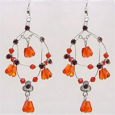 Crystal Earrings  - Red - ER-576RD