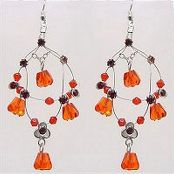 Crystal Earrings  - Red - ER-576RD