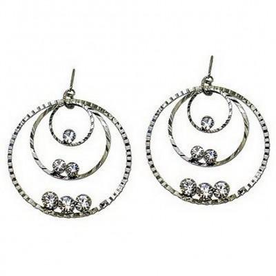 Triple Hoops Crystal Dangle Earrings/ Silver Tone - Clear - ER-ACQE4069A
