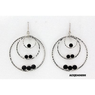 Triple Hoops Crystal Dangle Earrings/ Silver Tone - Black - ER-ACQE4069B
