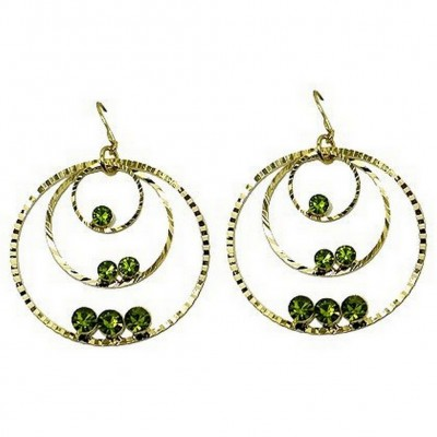 Triple Hoops Crystal Dangle Earrings/ Gold Tone - Lime - ER-ACQE4069F