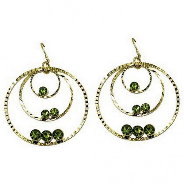 Triple Hoops Crystal Dangle Earrings/ Gold Tone - Lime - ER-ACQE4069F