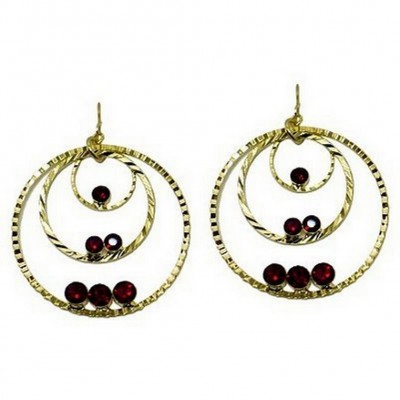 Triple Hoops Crystal Dangle Earrings/ Gold Tone - Red - ER-ACQE4069H