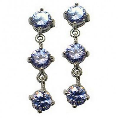 Triplets CZ Earrings - Clear - ER-ACQE4073E