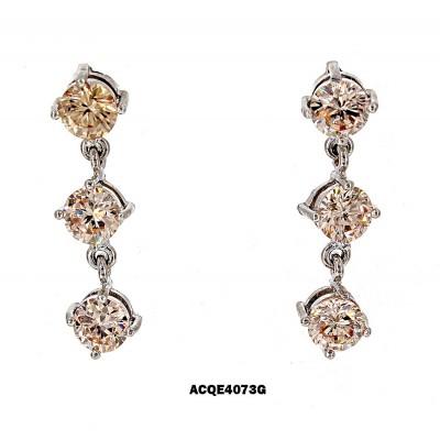 Triplets CZ Earrings - Topaz - ER-ACQE4073G