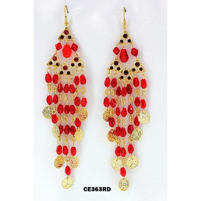Chandelier Rhinestone Earring - Red - ER-CE363RD