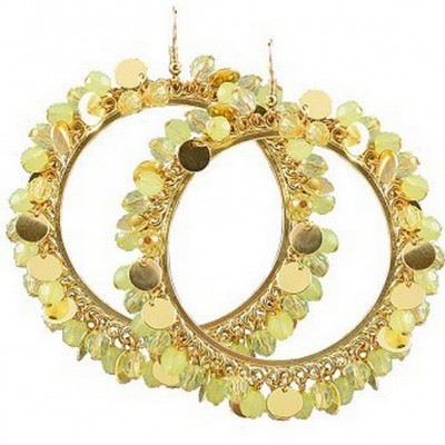 Large Hoop w/ Discs & Beads Earrings - Green - ER-E1309GN