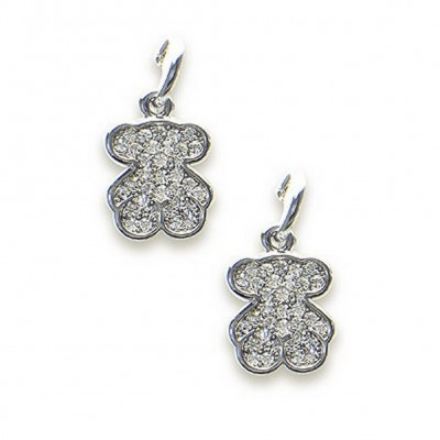 T-Bear Charm w/ Crystals Earrings - Rhodium Plating - Clear - ER-E2034CL