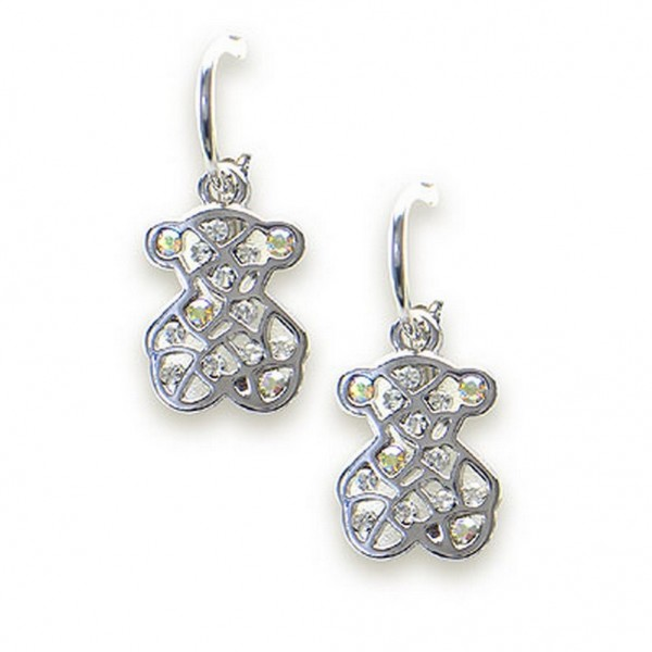 T-Bear Charm w/ Crystals Earrings - Rhodium Plating - Clear - ER-E2199CL