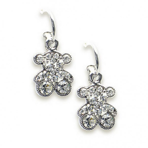 T-Bear Charm w/ Crystals Earrings - Rhodium Plating - Clear - ER-E2201CL