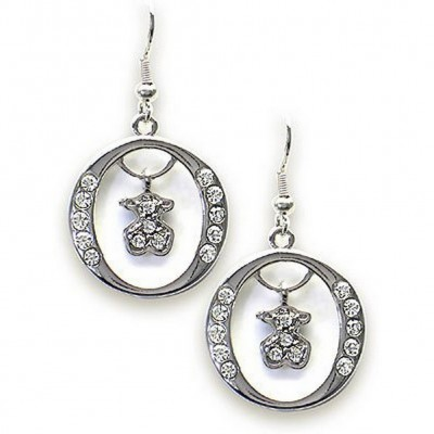 T-Bear Charm w/ Crystals Earrings - Rhodium Plating - Clear - ER-E2495CL