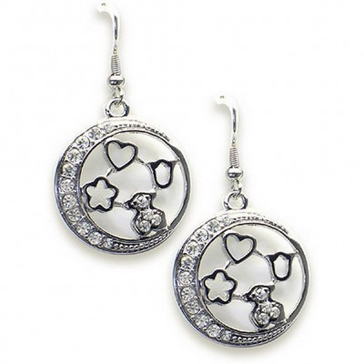 T-Bear Charm w/ Crystals Earrings - Rhodium Plating - Clear - ER-E2496CL