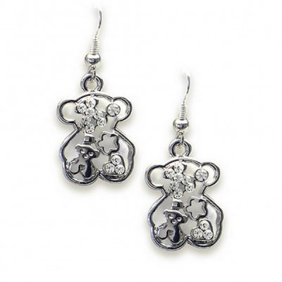 T-Bear Charm w/ Crystals Earrings - Rhodium Plating - Clear - ER-E2498CL