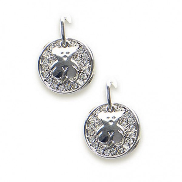 T-Bear Charm w/ Crystals Earrings - Rhodium Plating - Clear - ER-E2596CL