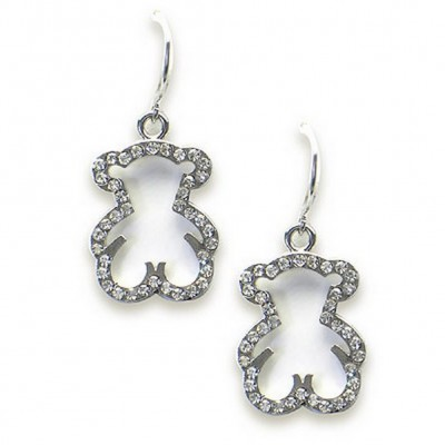 T-Bear Charm w/ Crystals Earrings - Rhodium Plating - Clear - ER-E2598CL