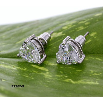 CZ Stud Earrings - 8 x 8 mm - ER-E290B-S