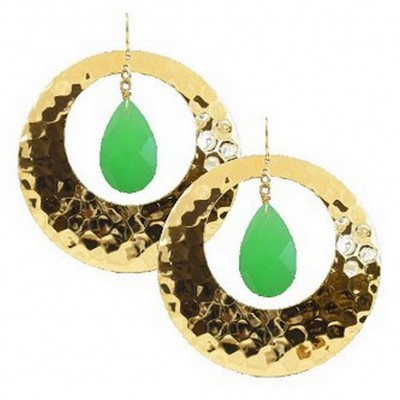Hex Embossed Metal Dangle Earrings - Green - ER-E402GN