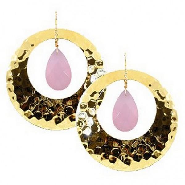 Hex Embossed Metal Dangle Earrings - Pink - ER-E402PK
