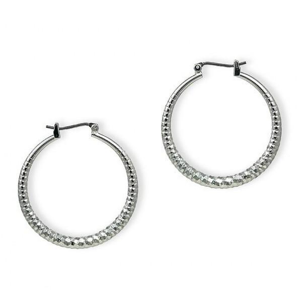 Silver Look Hoops Earrings - Silver - ER-HC332S