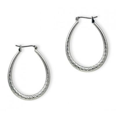 Silver Look Hoops Earrings - Silver - ER-HD3S-S
