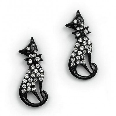 Rhinetone Post Earrings - Kitty - Black - ER-JER4422BK