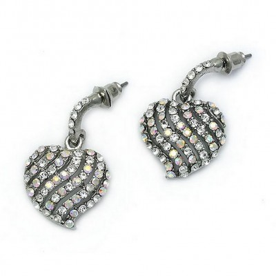 Post Rhinestone Earrings - Heart - ER-JVSE8314CL