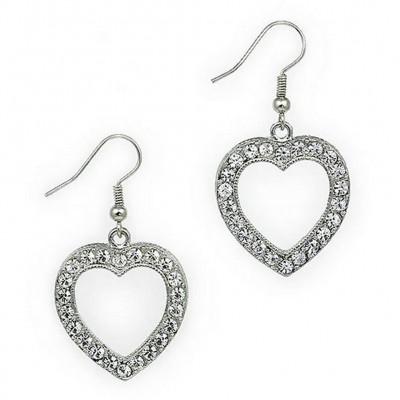 Dangling Rhinestone Earrings - Heart - ER-JVSE8405CL