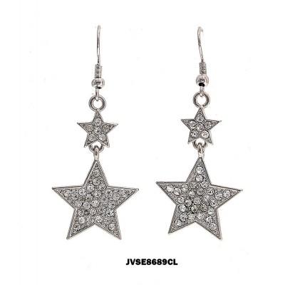 Dangling Rhinestone Earrings - Star - ER-JVSE8689CL