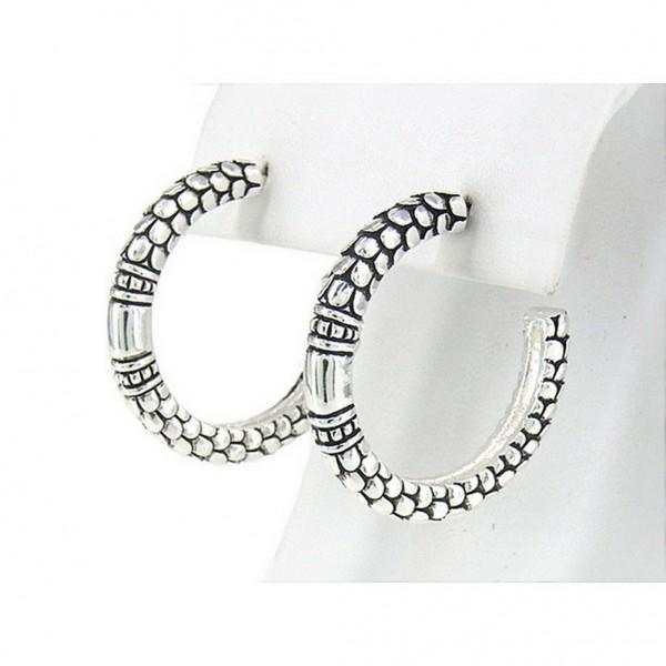 12-Pair Western Style Texture Hoop Earrings - ER-OE0374AS
