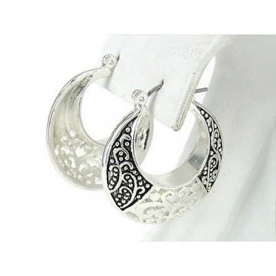 12-pair Western Style Texture Crescent Shape Earrings - ER-OE0385AS