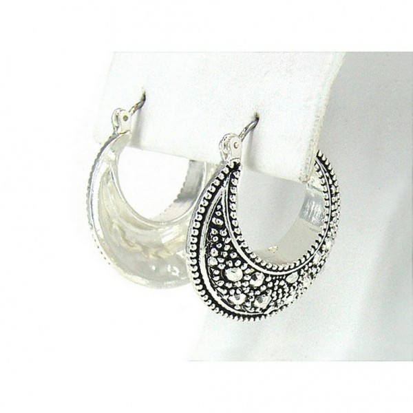 12-pair Western Style Texture Crescent Shape Earrings - ER-OE0386AS