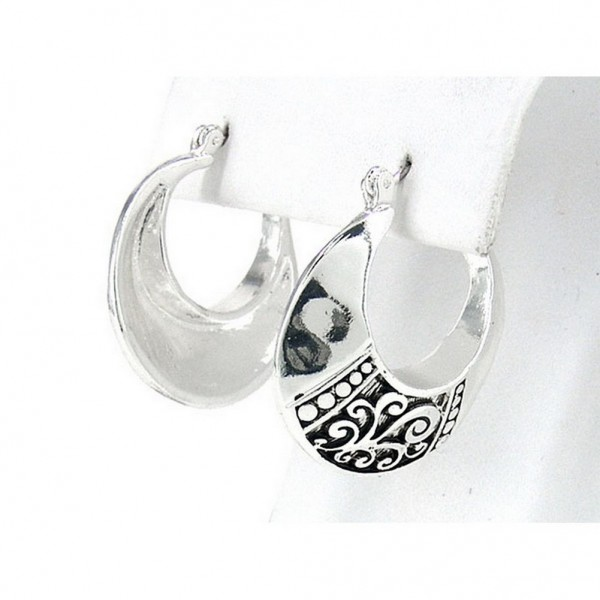 12-pair Western Style Texture Crescent Shape Earrings - ER-OE0387AS